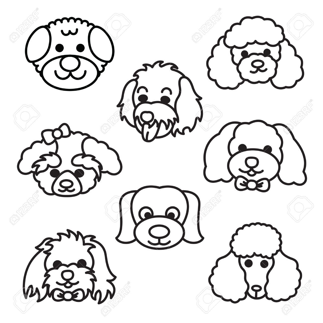 Stock Vector In 2020 Dog Face Drawing Cartoon Dog Poodle Drawing
