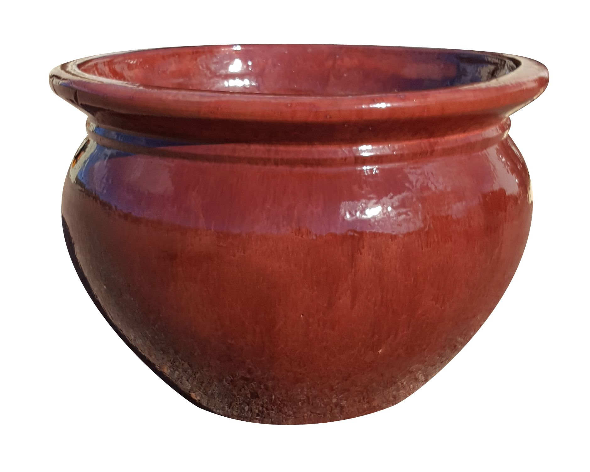 A fat belly pot with a flared