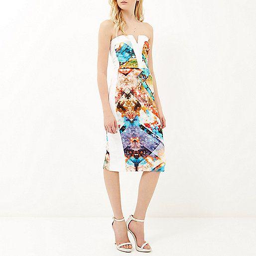 Blue graphic print bandeau pencil dress - dresses - sale - women
