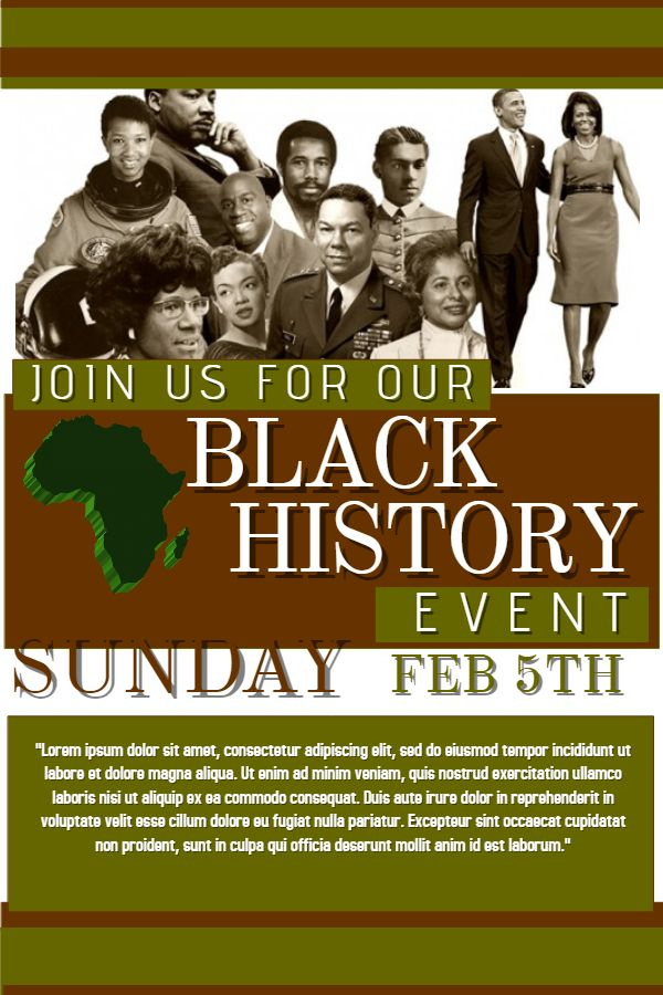 Black History Month Poster Banner Template Click To Customize
