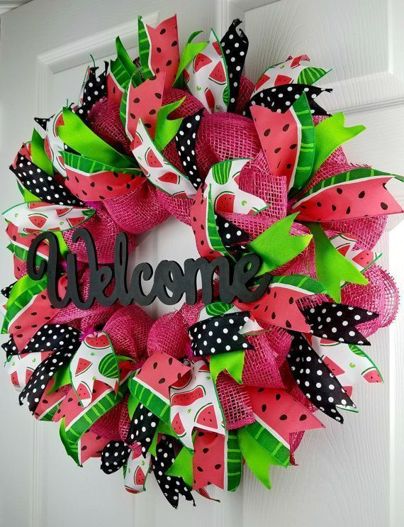 Watermelon Deco Mesh Wreath Summer Burlap Deco Mesh Wreath - Hastag Stalk #decomeshwreaths