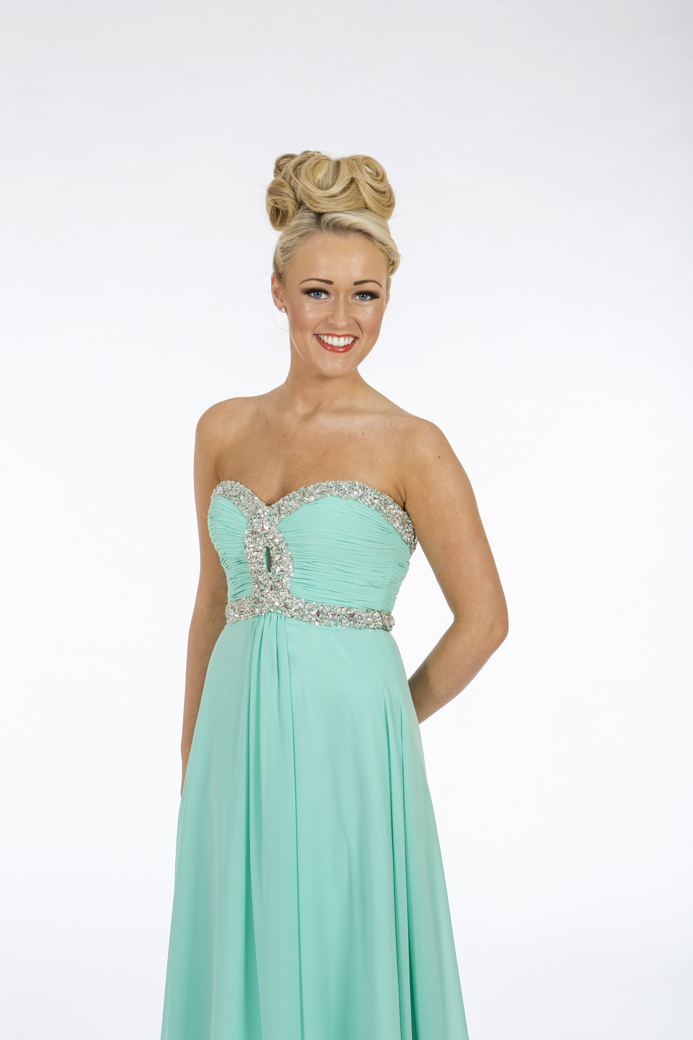 Mint green prom dress with sparkle trim & keyhole feature. lace up ...