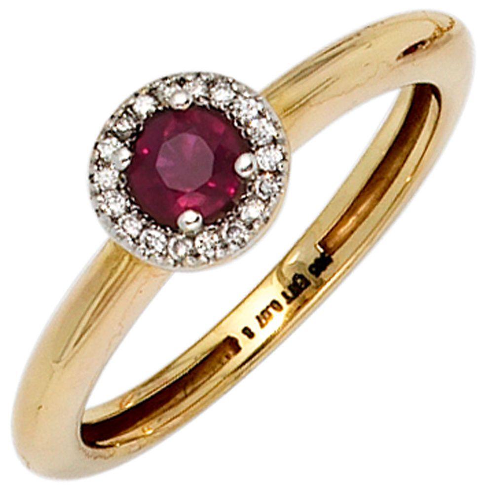 Damen-Ring 585 Gold Gelbgold teilrhodiniert 18 Diamant-Brillanten 1 Rubin  RUBIN FOREVER