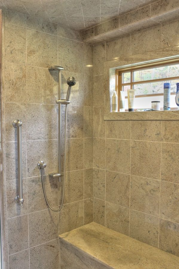 Shower Ideas Custom Tile Shower With Bench Seat Grab Bars And