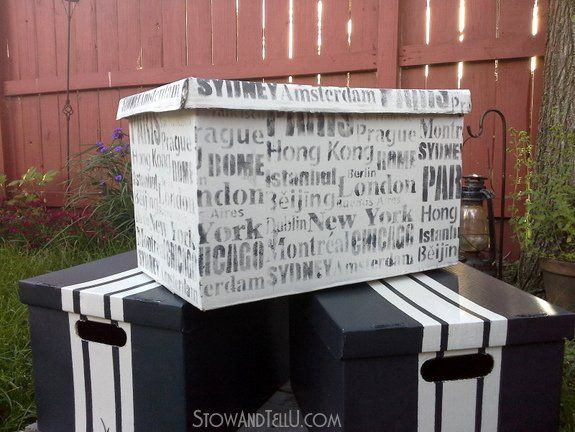 this is the way to dress up those banker boxes and other cardboard boxes filled with