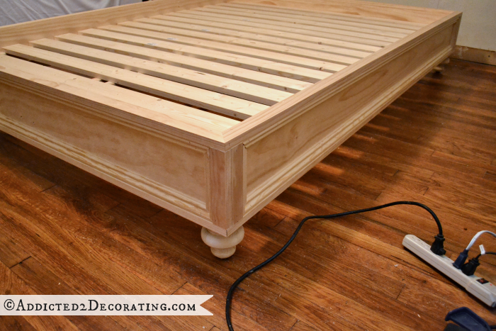 DIY Stained Wood Raised Platform Bed Frame Part 2