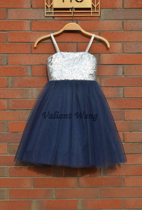 3ad4f87347 Silver Sequin Navy Blue Tulle Flower Girl Dress Wedding Baby Girls Dress  Rustic Baby Birthday Dress Knee Length