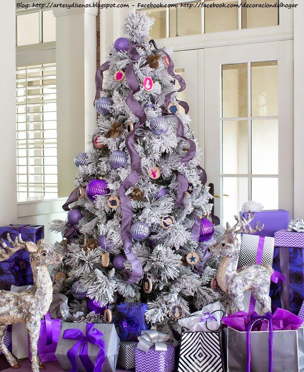 Decorar la casa para navidad con tonos lila violeta - Decoraciones del arbol de navidad ...
