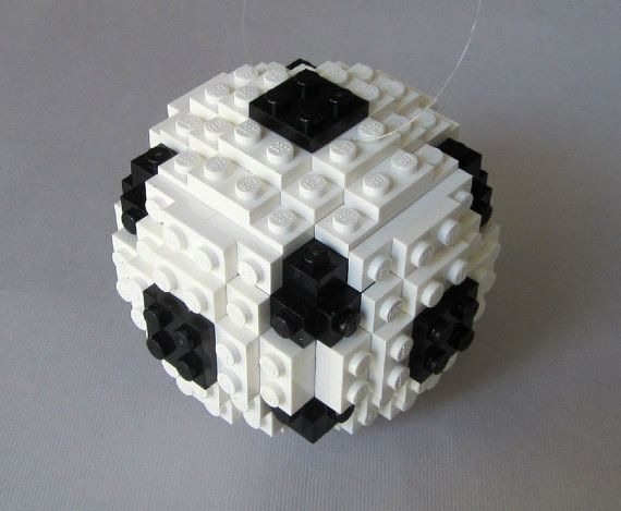 Soccer Ball Christmas Ornament In Lego Bricks By
