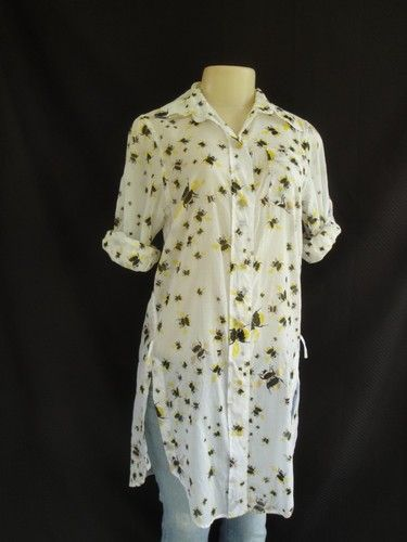 $30. This is AWEsome! DIANE VON FURSTENBERG Italy Metallic Honey Bumble Bee Tunic Shirt Top S