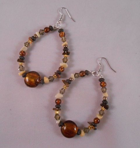 Earth-Tone Glass Beaded Hoops