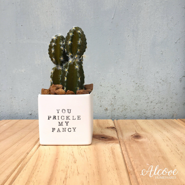 Mini Succulent Planter With You Prickle My Fancy Pun Mini Cactus Pot Funny Plant Pun Pots Boyfriend Gift Anni Plant Puns Plant Pot Diy Mini Cactus Pots