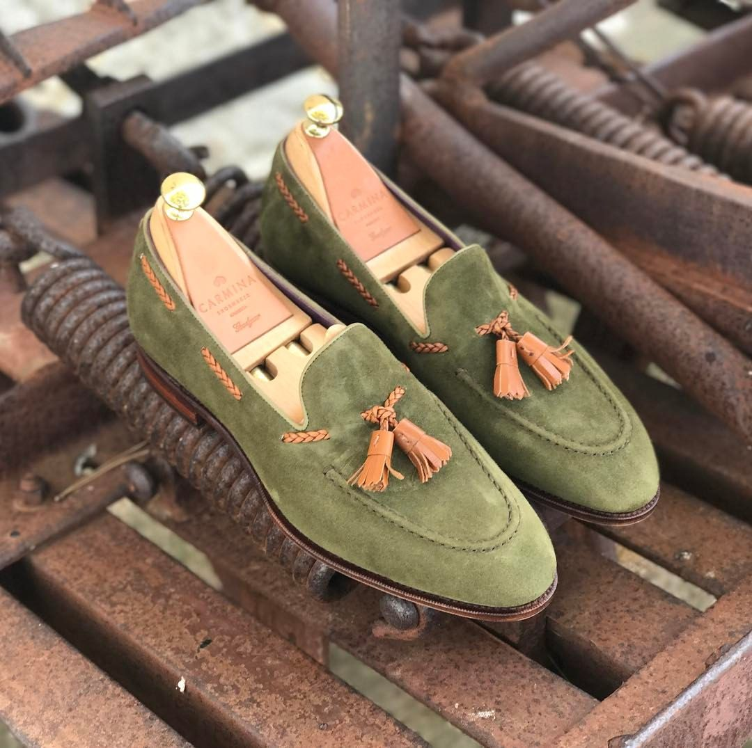 """Carmina Shoemaker on Instagram: """"Discover our new tassel loafers in Bering  suede and tan braided vegano. Link in Bio. #carminashoemaker #tasselloafers  ..."""