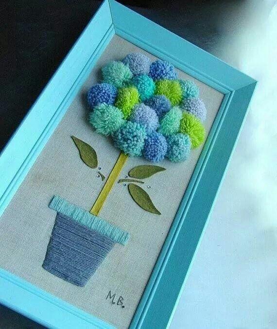 Cuadro hecho con pompones pompones pinterest - Manualidades con pompones ...