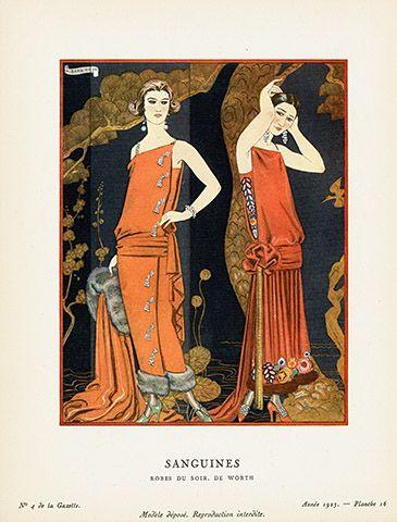 Sanguines By George Barbier Usd 215 Gazette Du Bon Ton Pochoir Fashion Plates 1912 Art Prints Sale Artwork