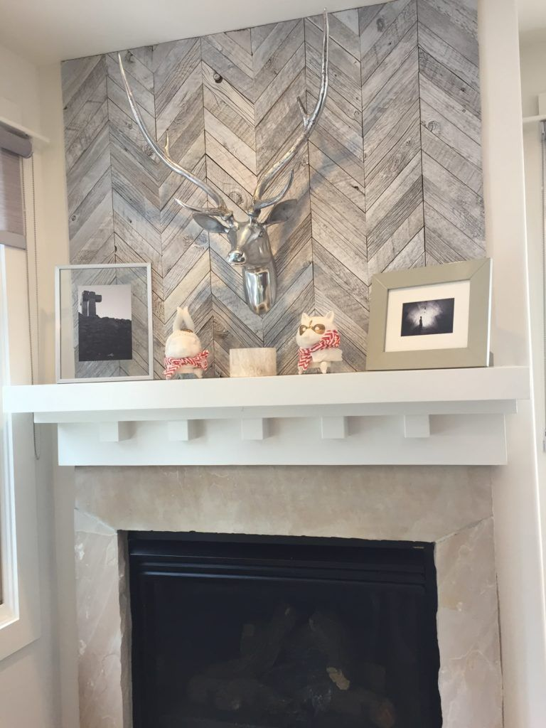 Chevron Pattern Wood Tile In A Light Grey Used On An
