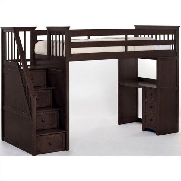 NE Kids School House Stair Loft Bed ($1,599) ❤ liked on Polyvore featuring home, children's room, children's furniture and brown