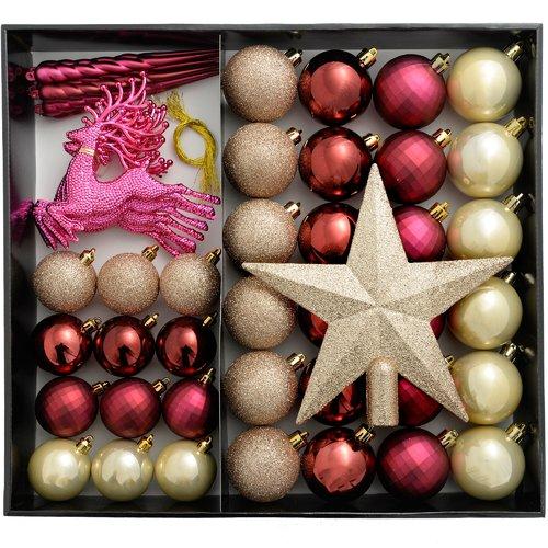 Bronze//Silver//Gold 50-Piece Shatterproof Luxury Christmas Tree Baubles