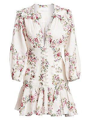 zimmermann honour corset longsleeve floral linen dress