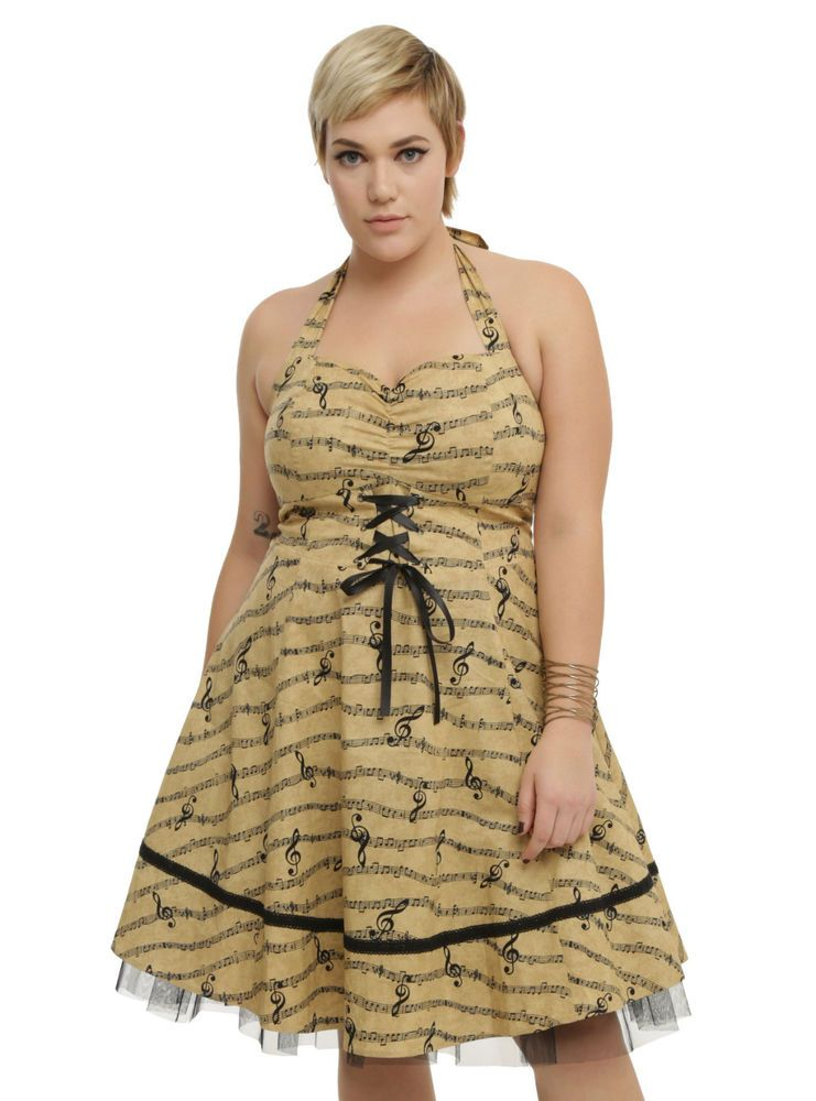 6bef6dac63da HOT TOPIC RETRO MUSIC NOTE W/ TULLE PLUS SIZE SWING DRESS NWT #fashion #