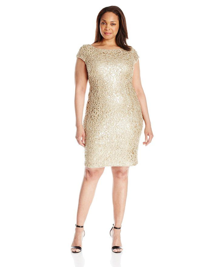 Adrianna Papell Women's Plus Size Sequin Chemical Lace Shift Cocktail Dress with Cap Sleeves