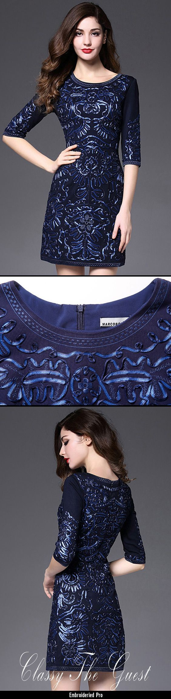 dfa9e2cfdd9 Wedding Guest Dresses Short Fitted Wedding Guest Dress Navy Blue With Sleeves  Luxury Embroidery  ZL8043