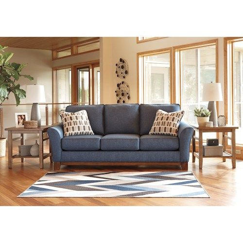 Benchcraft Janley Contemporary Sofa with Front Wood Rail