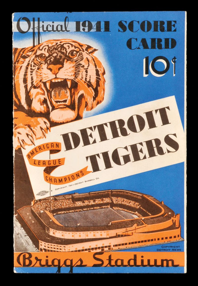 Official 1941 Score Card Vintage Baseball Detroit