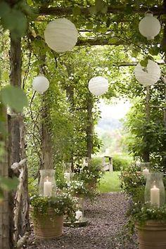 Very Pretty Arrangement Hurricanes With Candles In The Planted Terra Cotta Pots Would Be Lovely In A White Evening Garden Garten Garten Ideen Laterne Garten