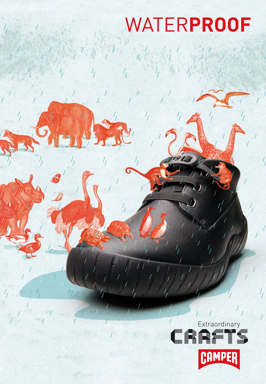 Waterproof Shoes ads, Camper shoes, Shoe advertising
