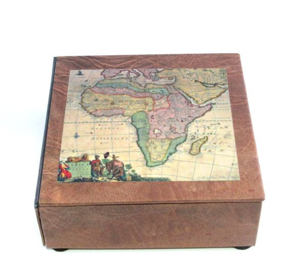 Decorative handmade mens watch box vintage map of africa 4 watch decorative handmade mens watch box vintage map by theboxshop1618 gumiabroncs Image collections