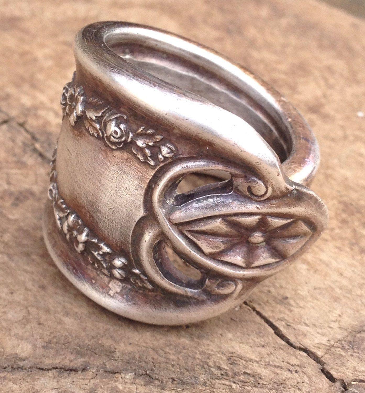 Antique silver spoon rings custom ring vintage wedding ring