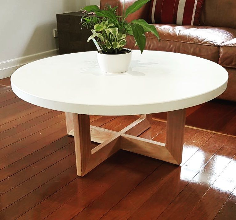 Concrete Design House On Instagram Our White Round Coffee Table With Blackbutt Legs Eternityjoin White Round Coffee Table Concrete Coffee Table Coffee Table