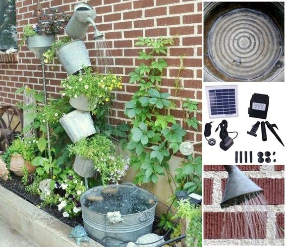 Sprinkle Water Can Solar Fountain DIY Project Homesteading  - The Homestead Survival .Com #fountaindiy