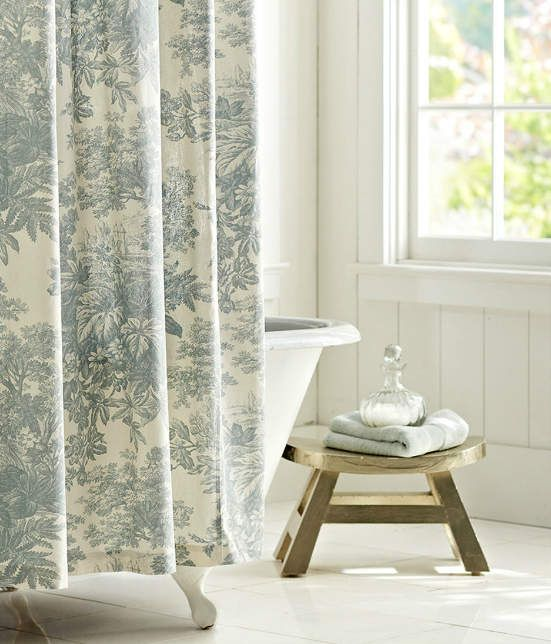Love The Toile Shower Curtain Old Claw Foot Tub And Rustic White