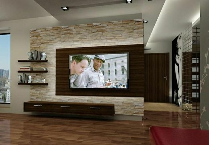 tv wandpaneel 35 ultra moderne vorschl ge wandpaneele steinoptik tv. Black Bedroom Furniture Sets. Home Design Ideas