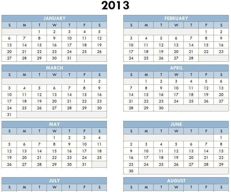Yearly Calendar 2013 Printable One Page | Recipes | Pinterest | Yearly