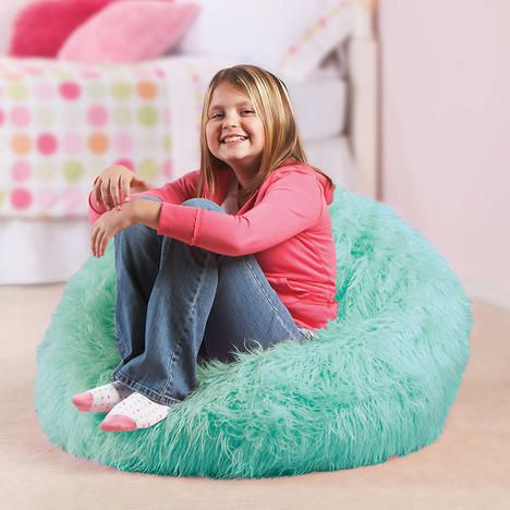 Aqua Furry Beanbag Chair