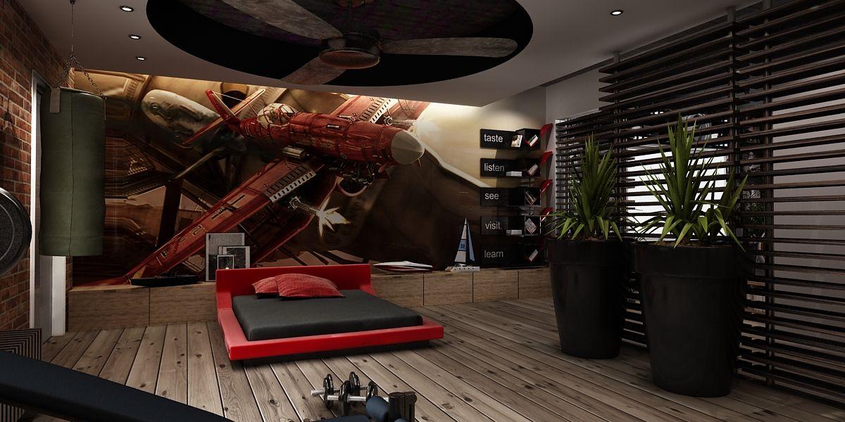 bachelor-bedroom-design-idea-red-bed | pokoje dla dzieci