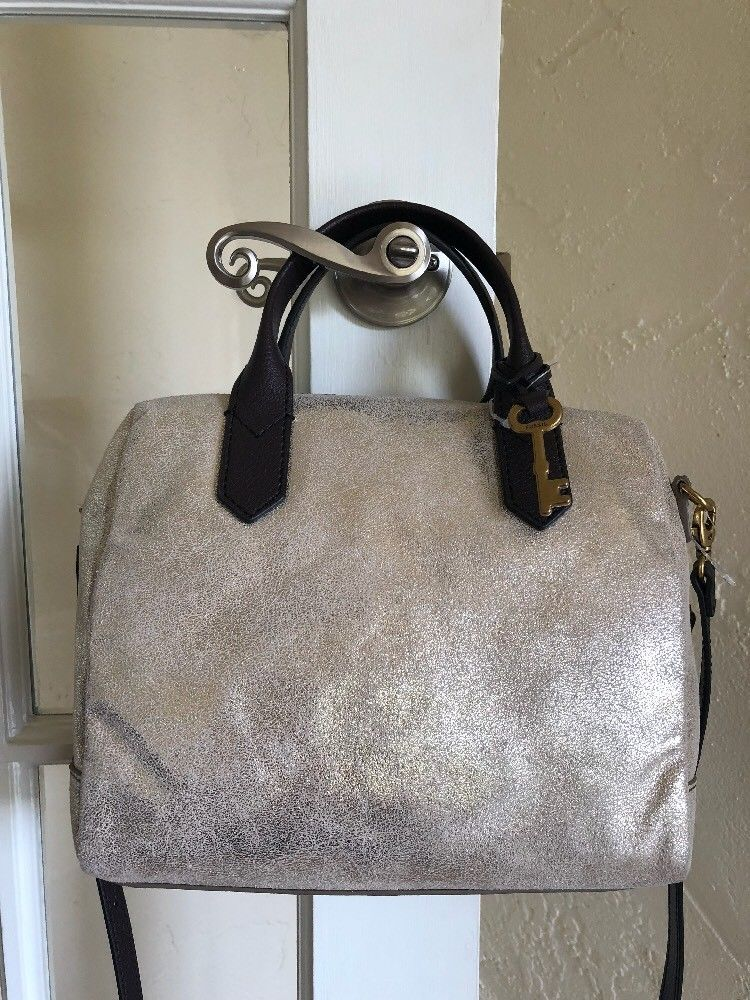 Fossil Fiona Leather Satchel ZB7428 Pale Gold Metallic  b7305e6ff0787