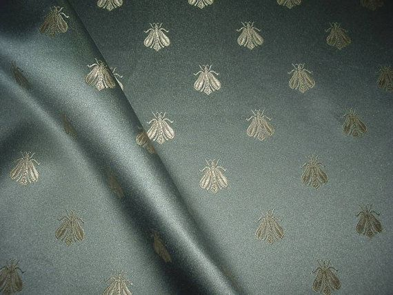 One Yard French Blue NAPOLEON BEE Damask Fabric