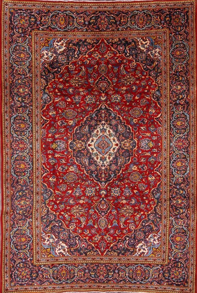 Bedroom Hand Knotted Kashan Rectangle Area Rugs Ebay