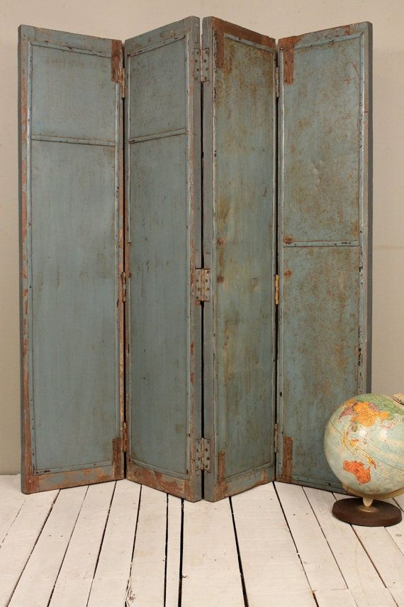 SALE Rusty Industrial Blue Gray Headboard Room Divider Screen Old Folding  Wood/Metal Panels