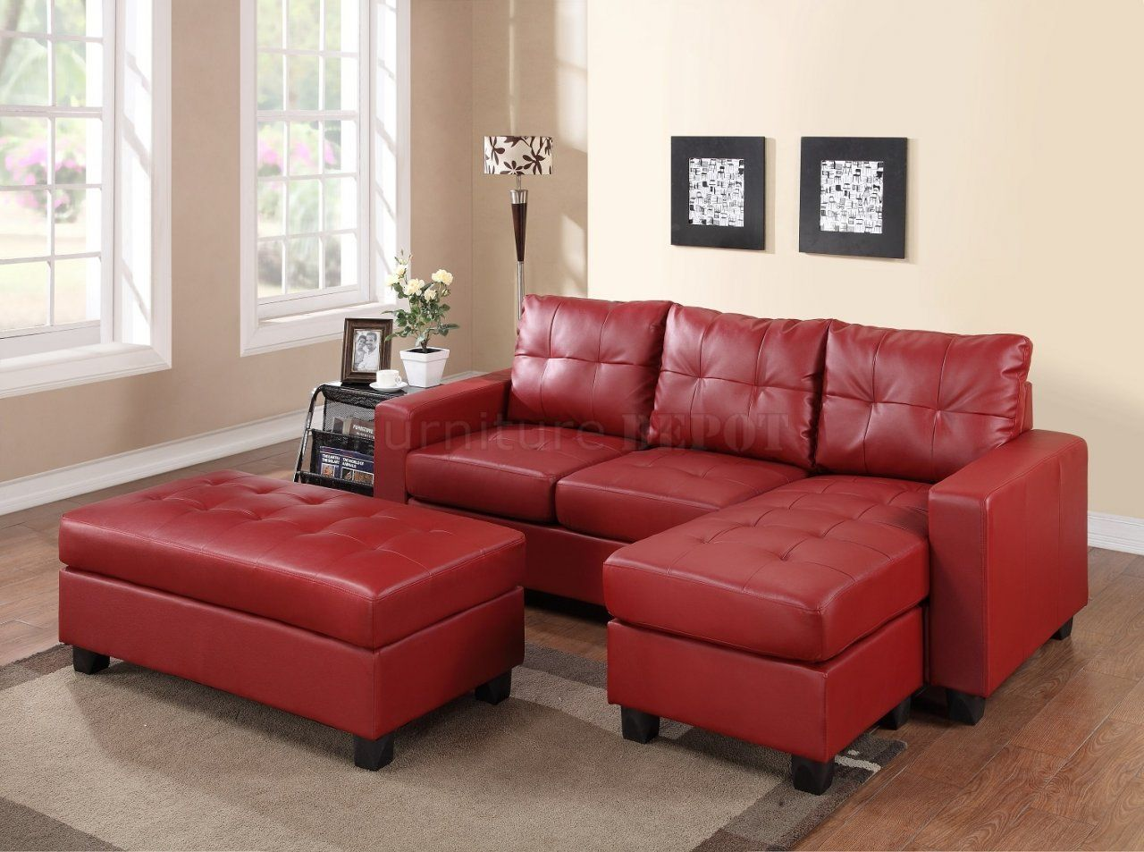 2511 Sectional Sofa Set In Red Bonded Leather Match Pu | Fabulous ...