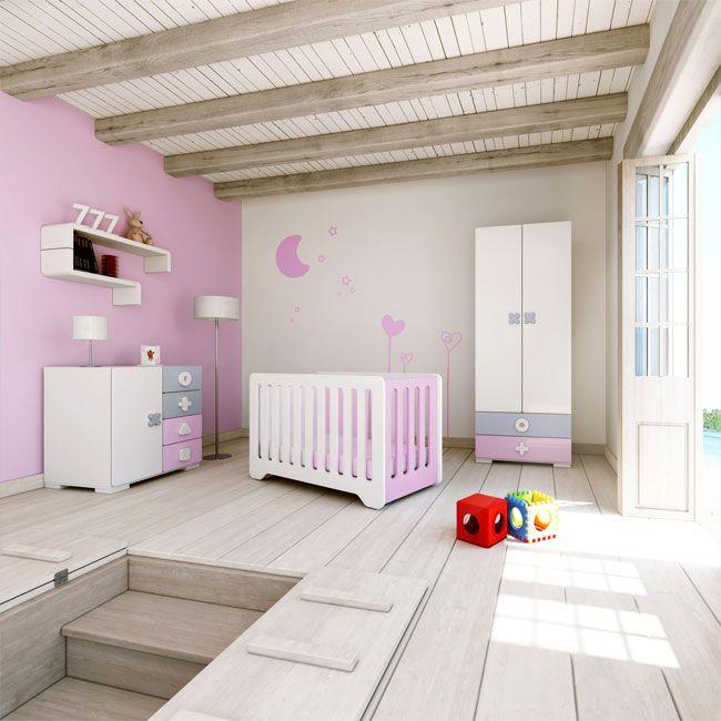 Habitaciones infantiles originales para ni as colecci n mini maths color rosa de alondra cuna - Habitaciones infantiles originales ...