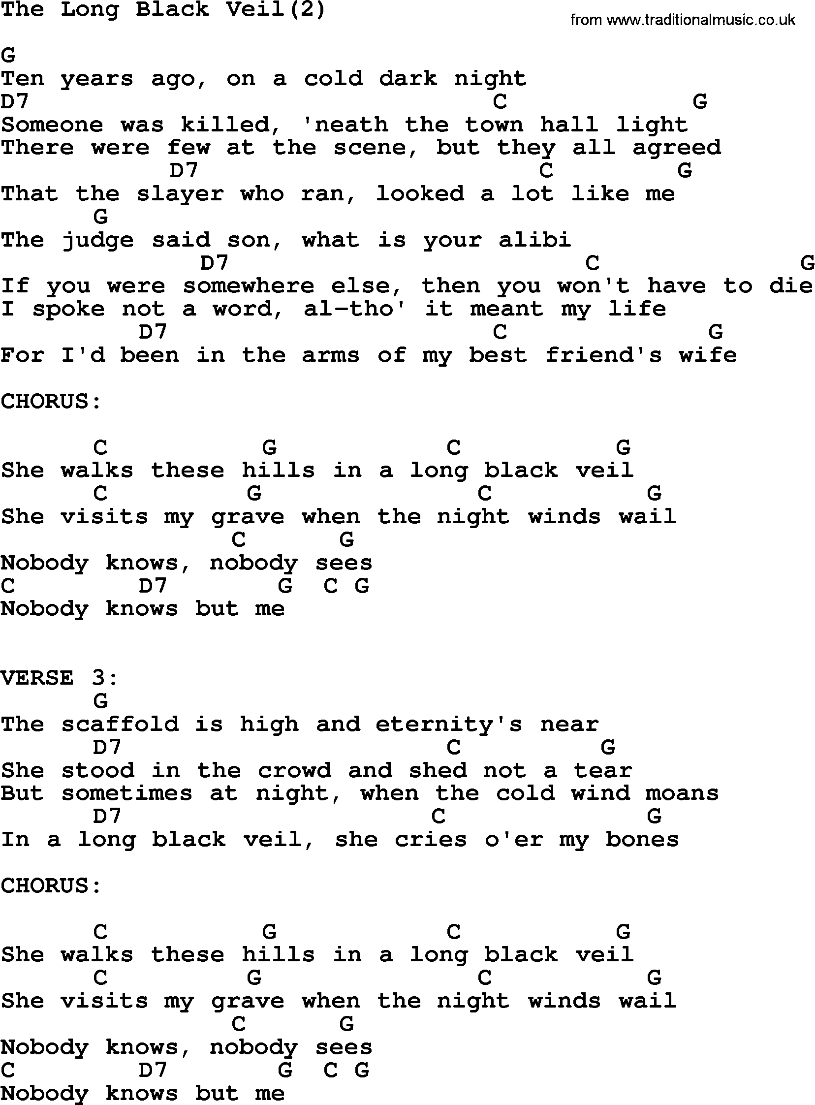 Johnny Cash Song The Long Black Veil 2 Lyrics And Chords