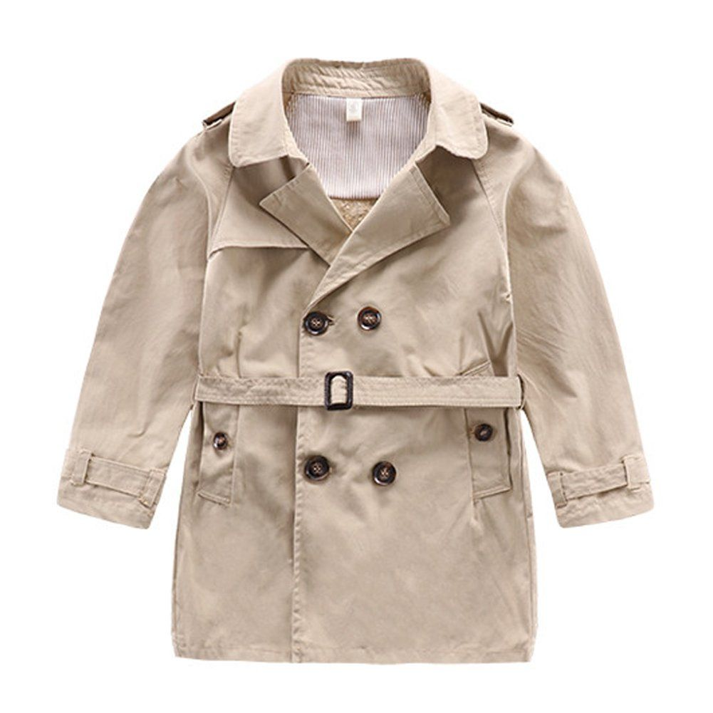 73369f7a94e2 Little Boy s Classic Middle Long Double Breasted Trench Coat ...