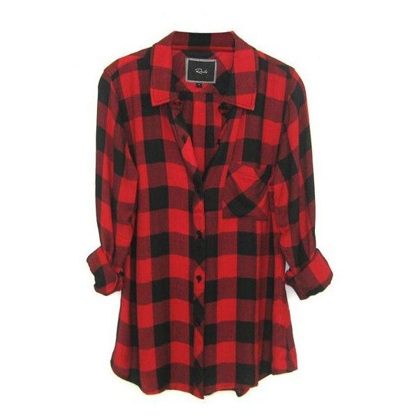 Rails Hunter Plaid Shirt in Black/Red Check ❤ liked on Polyvore featuring  tops,