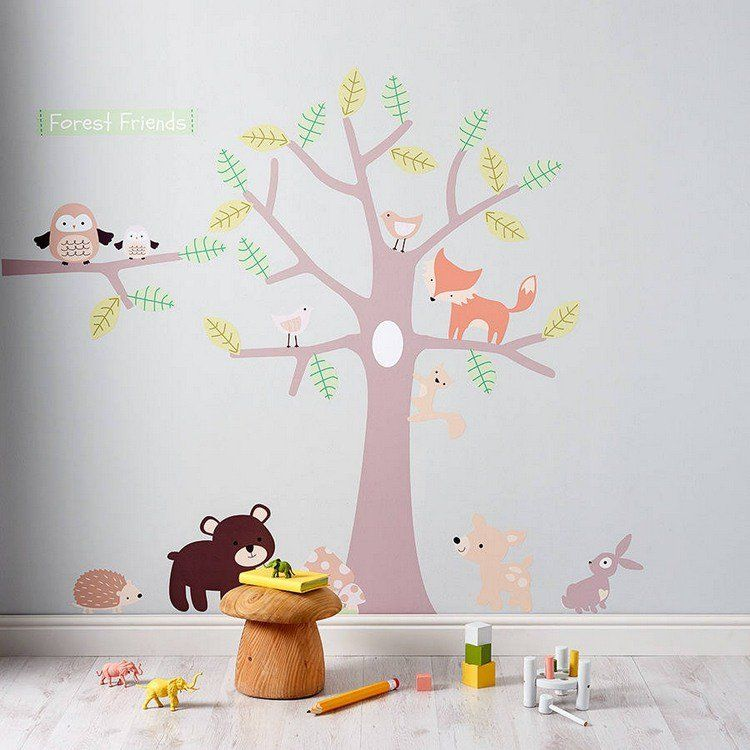 sticker mural chambre b b plus de 50 id es pour s 39 inspirer animaux pastel et stickers. Black Bedroom Furniture Sets. Home Design Ideas