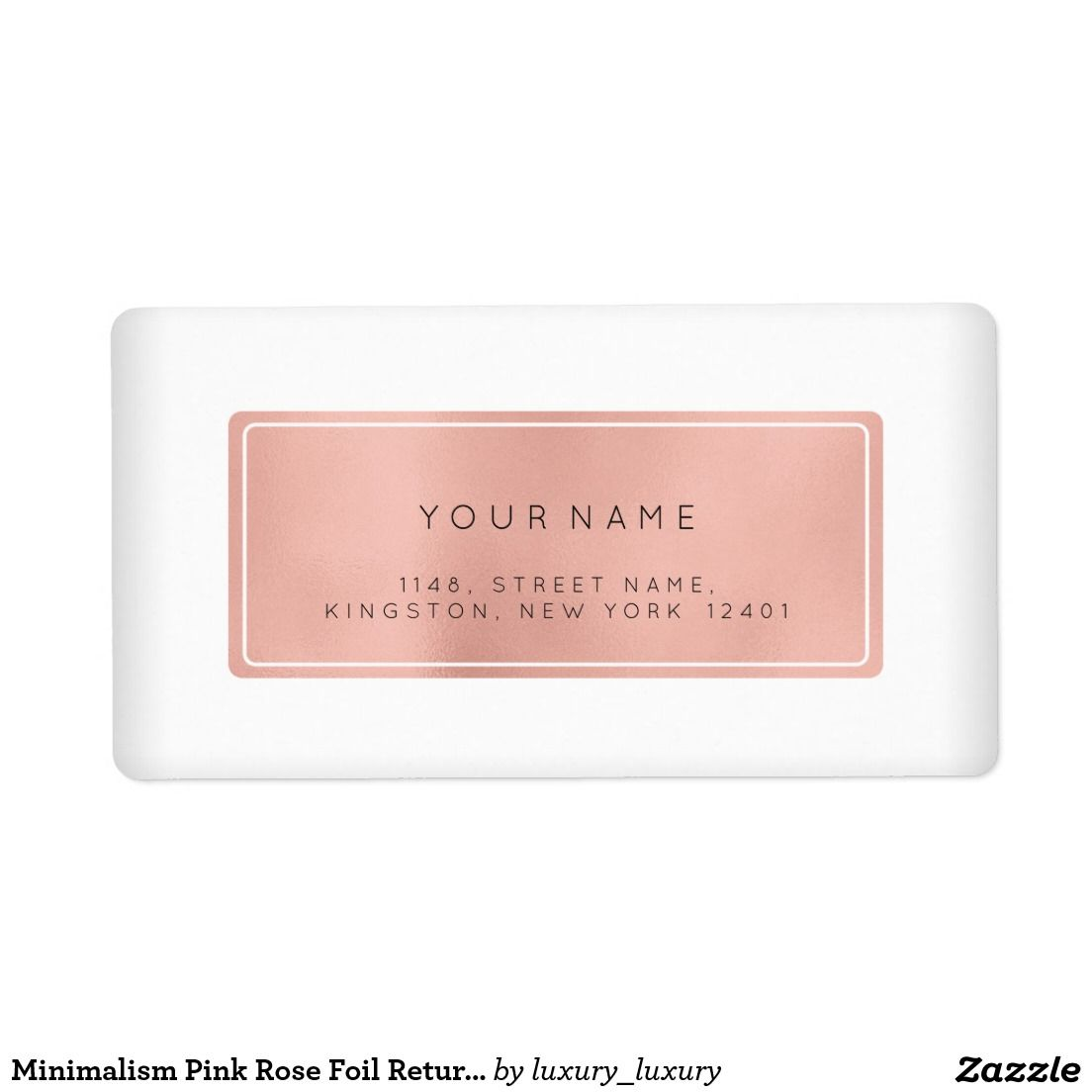 Minimalism Pink Rose Foil Return Address Labels  Return Address